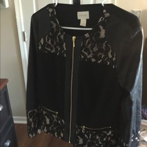 Leather, and lace Black and cream Work blazer